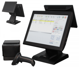 kassa systeem zwart touchscreen all in one oplossing kassa software